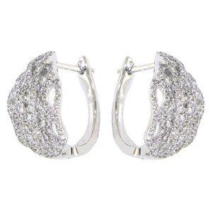 Cluster Diamond Fancy Huggies Earrings White Gold